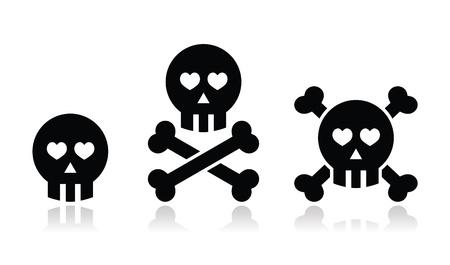 Cartoon skull with bones and hearts icon set Stock Vector - 18027069