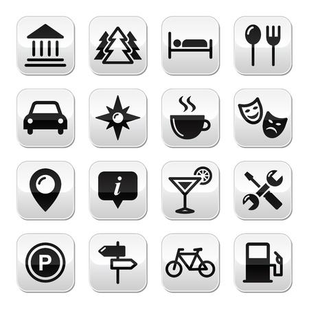 sleeping car: Travel tourism buttons set - vector Illustration