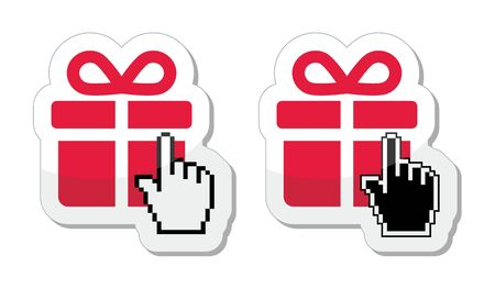 Red present icon with cursor hand vector Stock Vector - 18069271