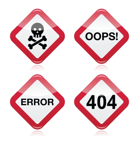 repair computer: Danger, oops, error, 404 red warning sign