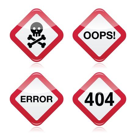 oups: Danger, oups, erreur, 404 panneau d'avertissement rouge Illustration