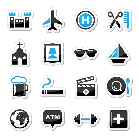 Travel tourism and transport icons set Vector