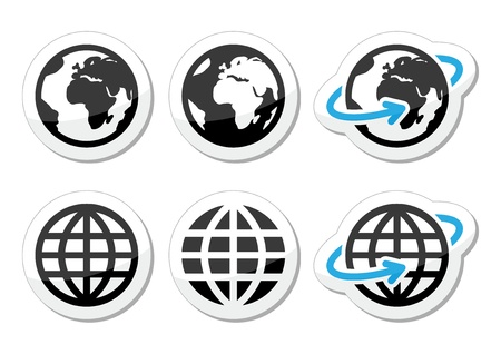 internet icon: Globe earth vector icons set with reflection Illustration