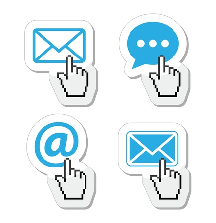 Contact - envelope, email, speech bubble  with cursor hand icons Stock Vector - 18180682