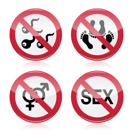 No sex, romance red warning sign Stock Vector - 18182354