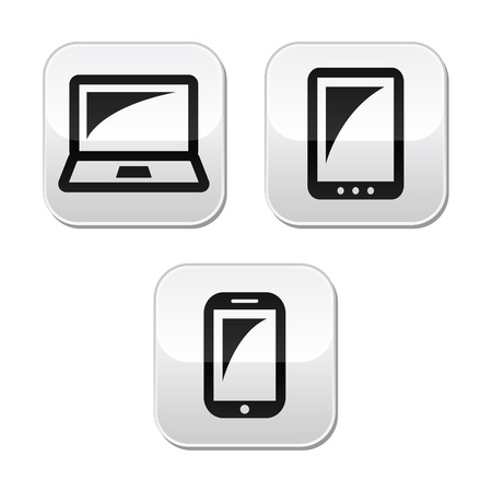 smartphone apps: Laptop, tablet, smarthone vecor buttons set