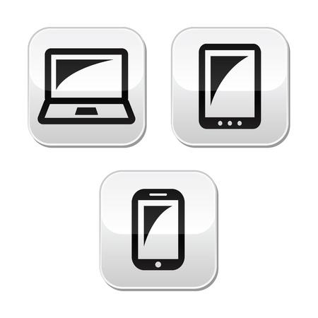 laptop screen: Para port�tiles, de tabletas, smarthone botones vecor establecer Vectores