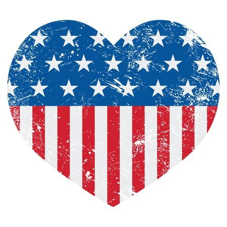ville usa: Etats-Unis Am�rique du drapeau coeur r�tro - vecteur