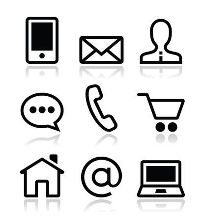 envelope icon: Contact web vector icons set