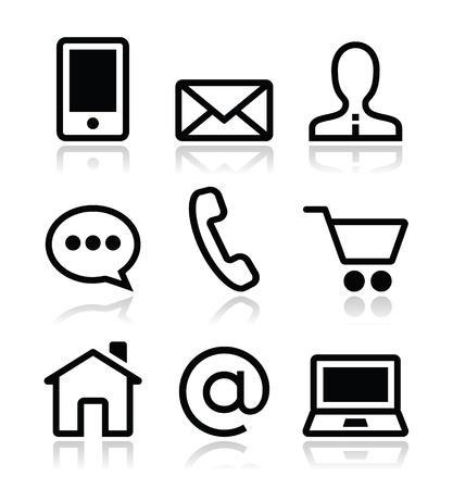 Contattare icone vettoriale web set Vettoriali