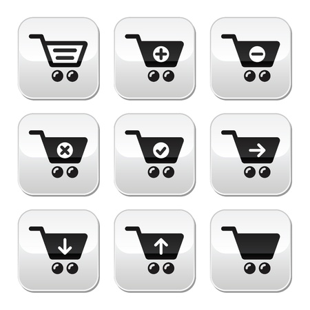 Shopping cart vector buttons set Stock Vector - 18241288