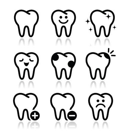 dientes caricatura: Dientes, dientes iconos conjunto Vectores
