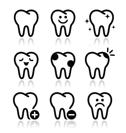 tooth cartoon: Tooth , teeth icons set