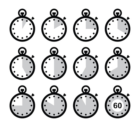 El tiempo, reloj, cronómetro fijado iconos Ilustración de vector