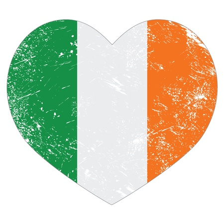 Ireland heart retro flag - St Patricks Day Vector