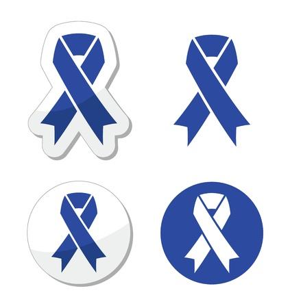 azul marino: Navy Blue Ribbon - maltrato infantil, s�mbolo conducir ebrio Vectores
