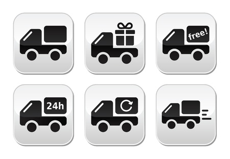 fast delivery: Delivery car, shipping buttons set