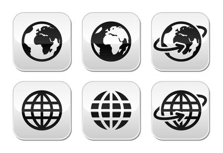 globe earth: Globe earth buttons set