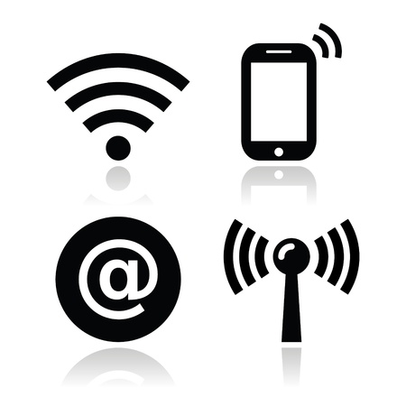 radars: Wifi network, internet zone icons set