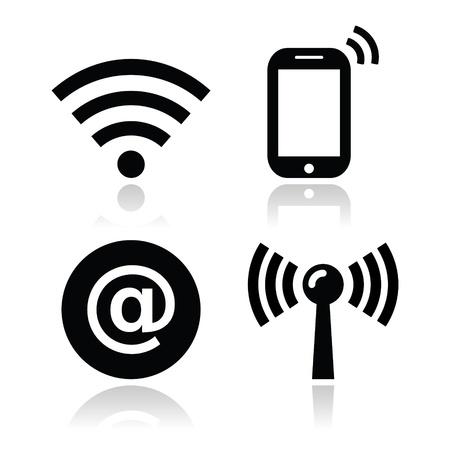 Wifi red, los iconos de zona de Internet establecido Ilustración de vector