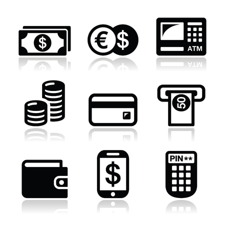 cash machine: Money, ATM - cash machine  icons set