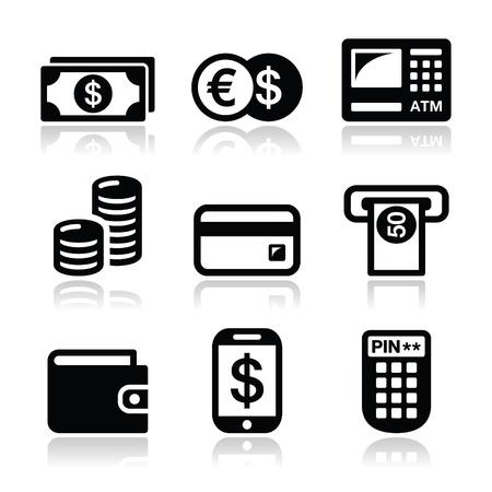 bank transfer: Money, ATM - cash machine  icons set