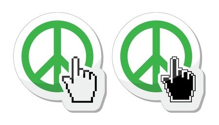 World peace green sign with cursor hand vector icon Vector