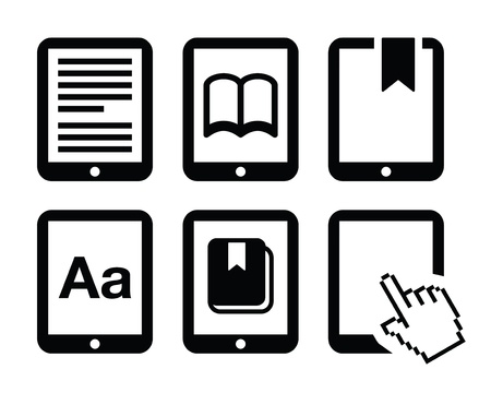reader: E-book reader, e-reader icons set  Illustration