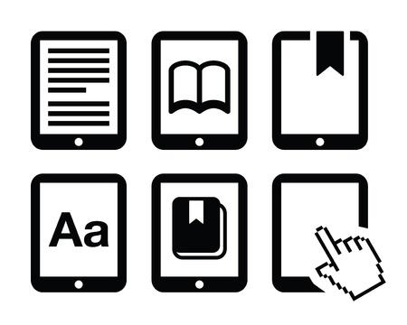 ebook reader: E-book reader, e-reader icons set  Illustration