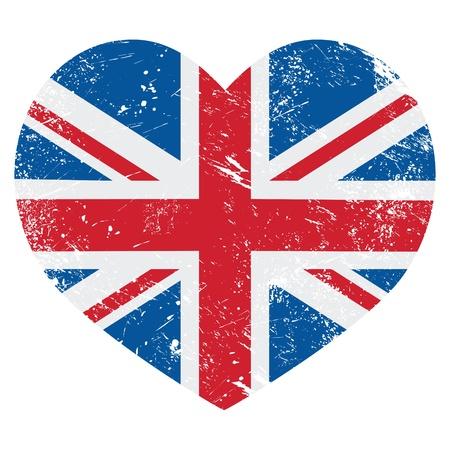brytanii: UK Great Britain flag serce retro - wektor