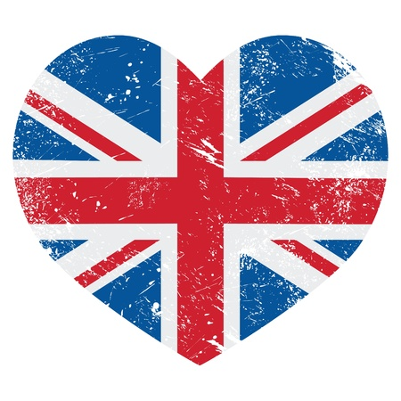 great britain: UK Great Britain retro heart flag - vector