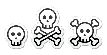 Cartoon skull with bones  icons set Vector