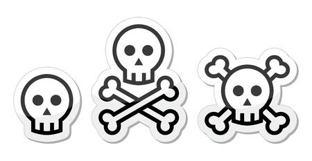 Cartoon skull with bones  icons set Stock Vector - 18320570