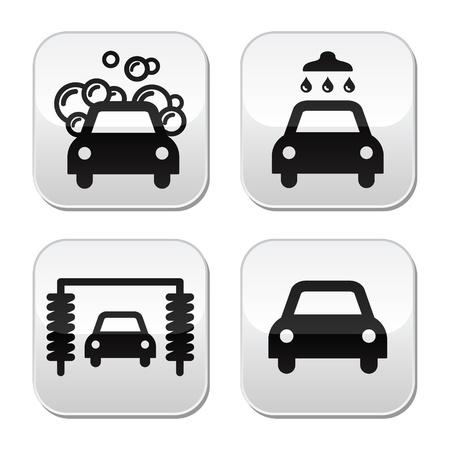 auto illustratie: Car wash knoppen set - vector