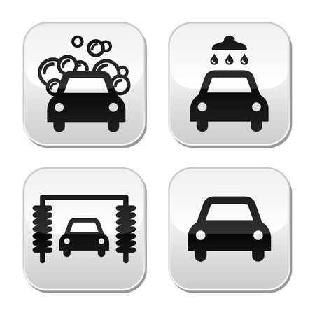 lavado: Lavado de coches botones set - vector