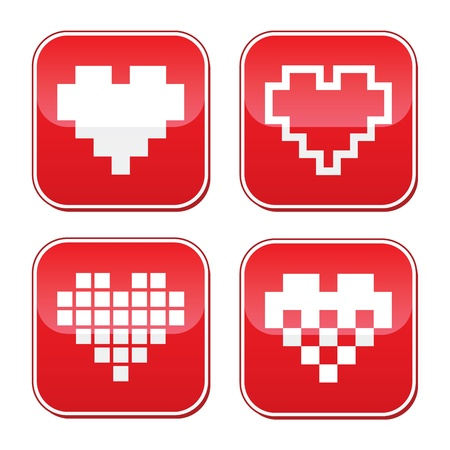 Pixel heart love vector buttons set Vector
