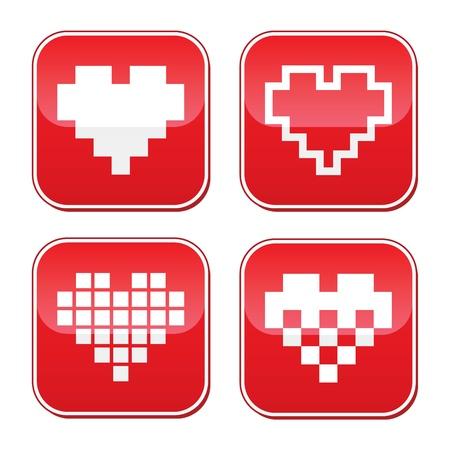 geeky: Pixel heart love vector buttons set