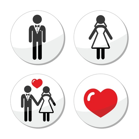 honeymoon: Wedding icons - married couple, groom and bride Illustration