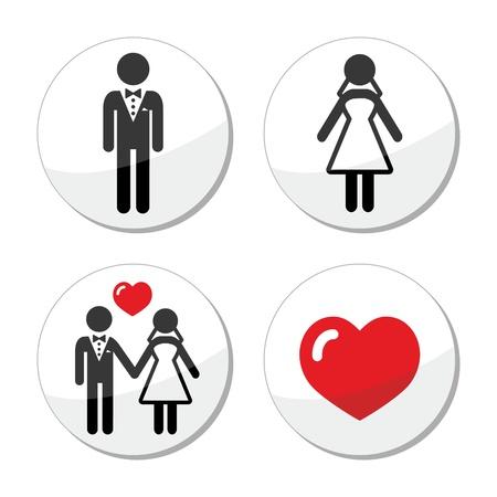 honeymoon: Wedding icons - married couple, groom and bride Illustration