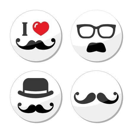 hair mask: I love mustache   moustache icons set