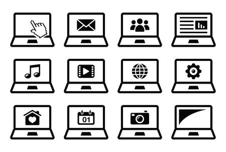 Laptop black icons set Vector