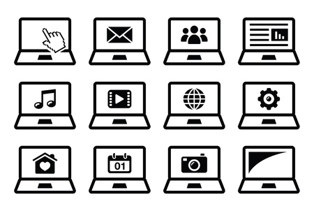 Laptop black icons set Stock Vector - 18383871