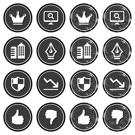 magnyfying glass: Web navigation icons on retro labels set