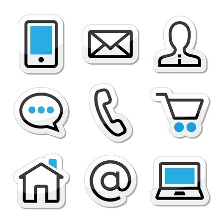 house call: Contact web vector stroke icons set