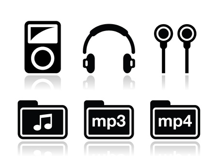 mp3 player: Mp3 player vector icons set Illustration