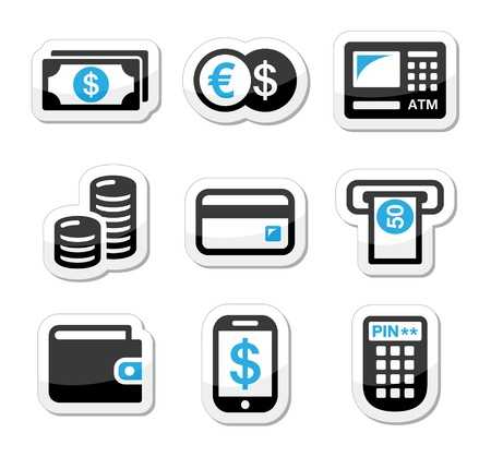 cash machine: Money, atm - cash machine vector icons set