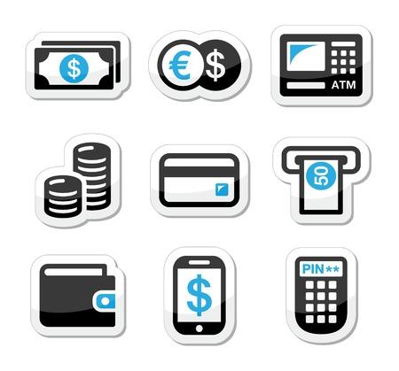 credit card bills: Money, atm - cash machine vector icons set