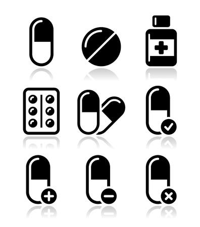 Pills, medication icons set