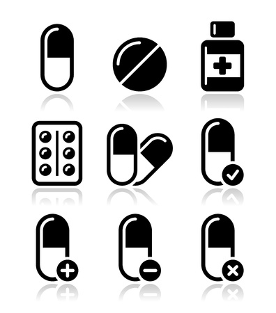 Pills, medication icons set  Stock Vector - 18424765