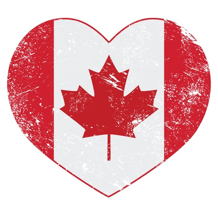 canadian flag: Canada heart retro flag Illustration